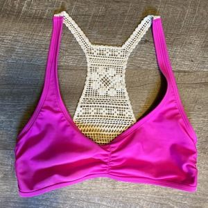aerie Pink Crocheted Bikini Top Medium